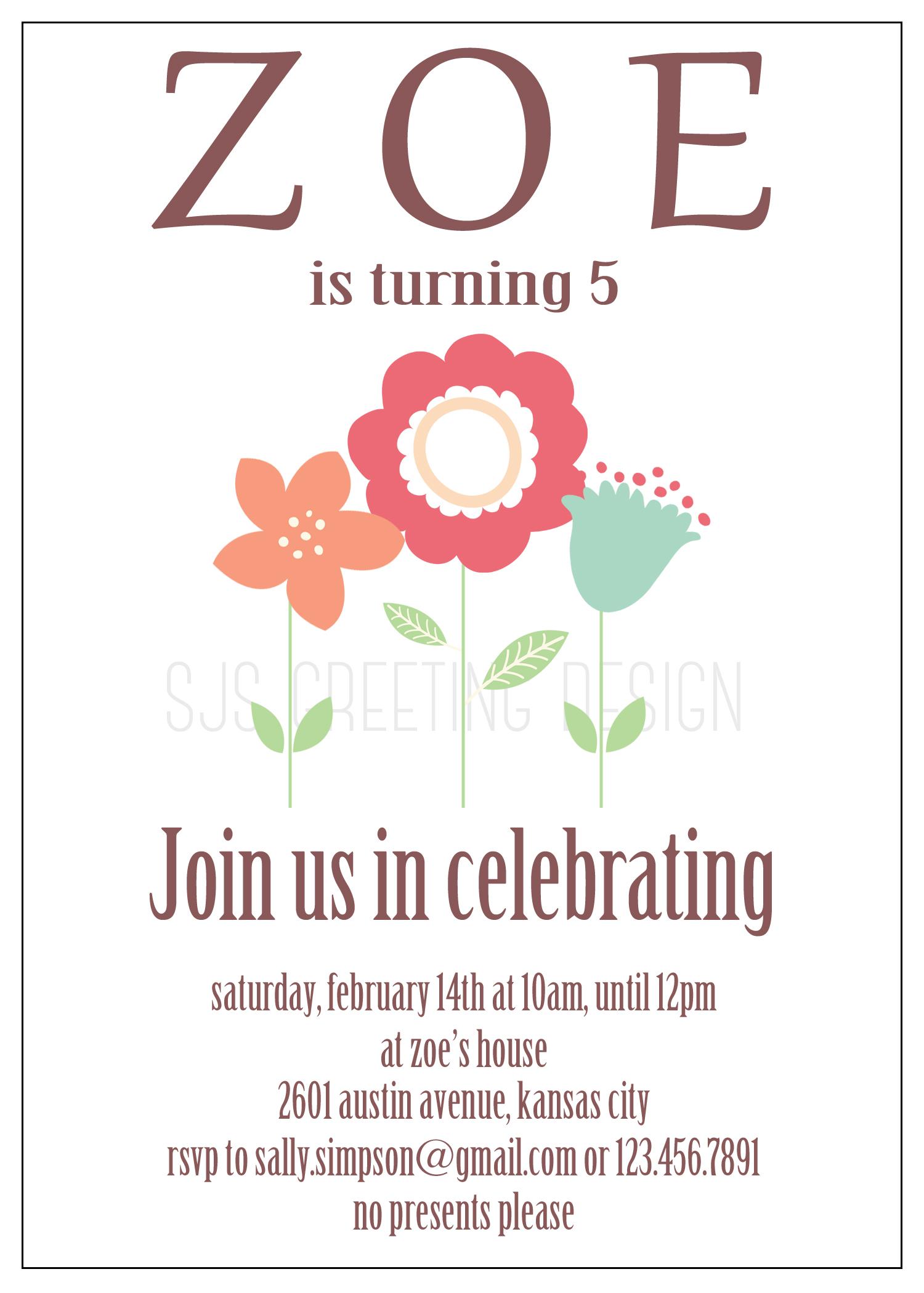 Birthday invitation zoe sjsgreetingdesign zoe birthday invite stopboris Gallery