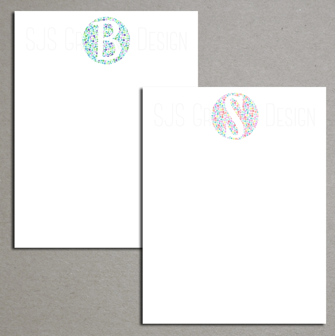Color Monogram Notepads