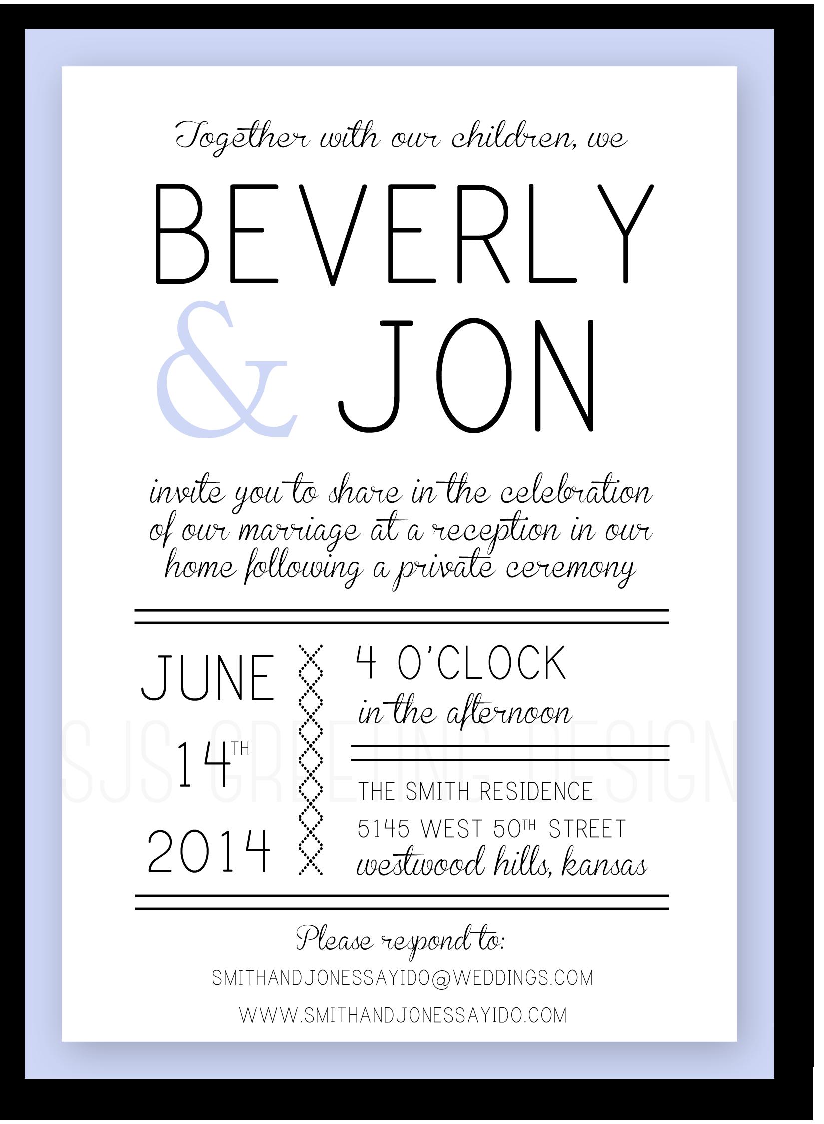 Custom Casual Wedding Invitation Beverly Sjsgreetingdesign