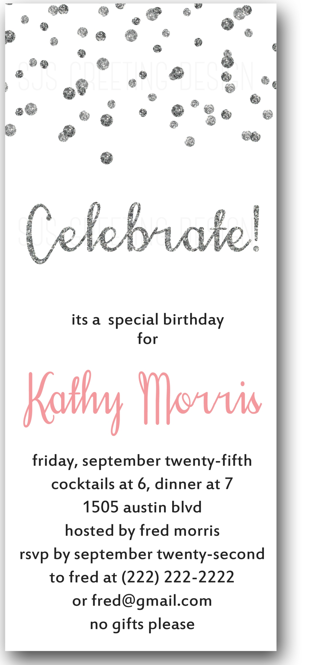 White Sparkle Invitation