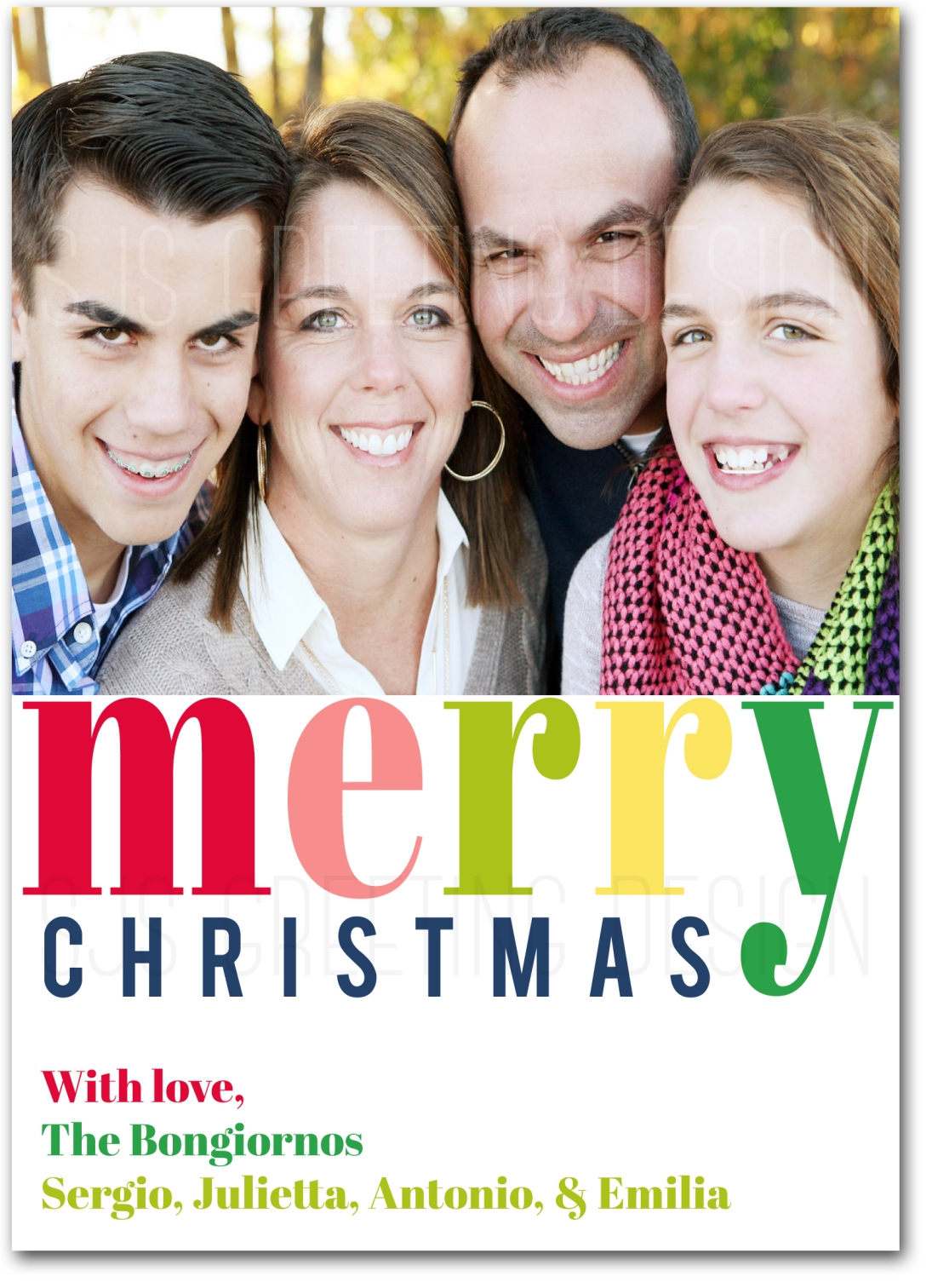 merry christmas multi color photo card
