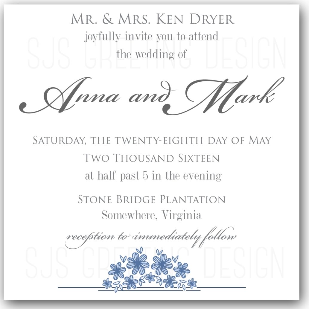 Simple Plantation Wedding Invitation
