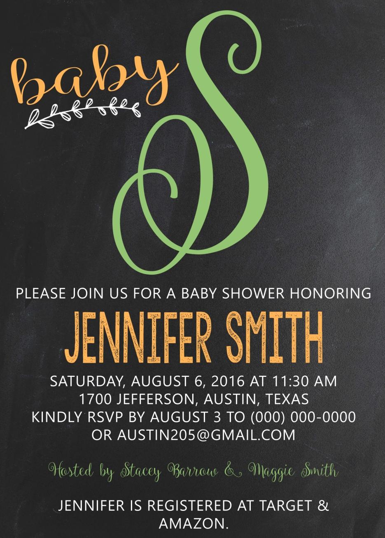 chalkboard baby 2 baby shower invitation
