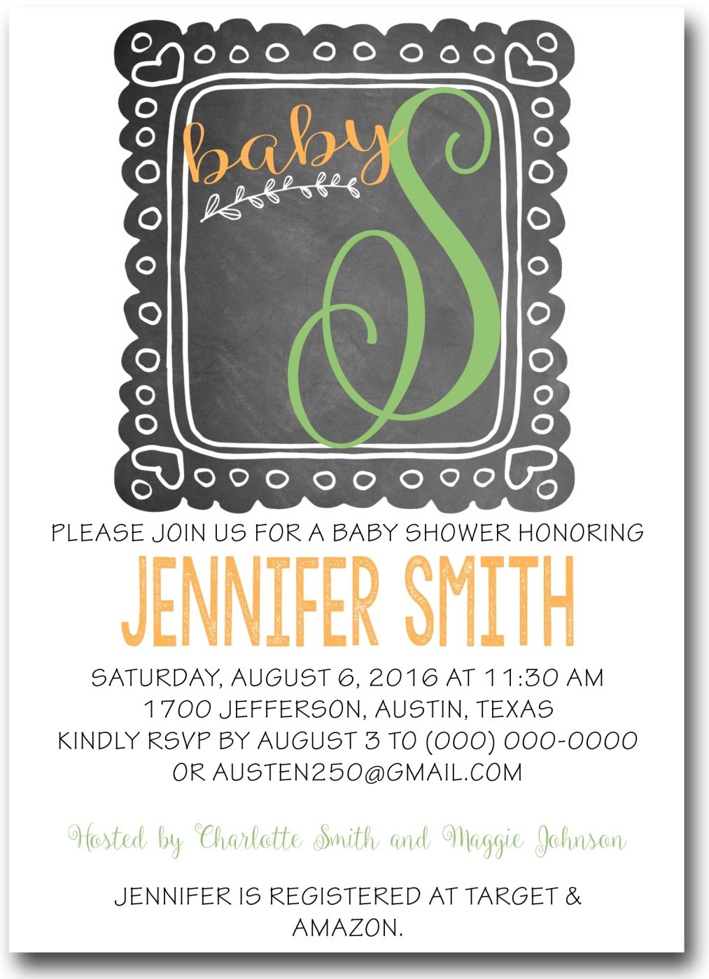 chalkboard frame baby shower invitation