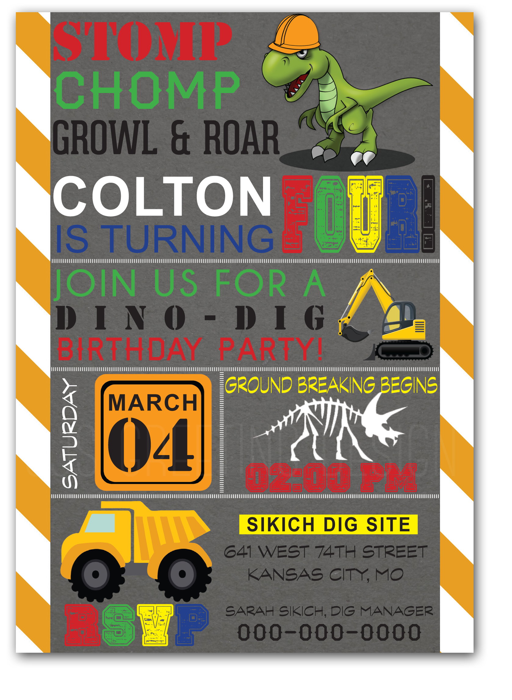 construction dinosaur party sjsgreetingdesign